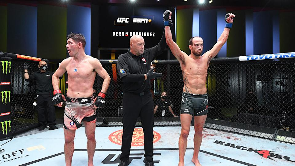 Pictured here, Damon Jackson celebrates his win over Charles Rosa.