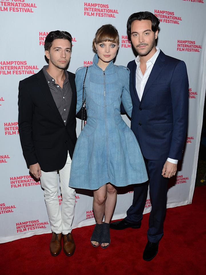 "EAST HAMPTON, NY - OCTOBER 07:  John Magaro, Bella Heathcote and Jack Huston attend the closing night screening of ""Not Fade Away"" during the 20th Hamptons International Film Festival at Guild Hall on October 7, 2012 in East Hampton, New York.  (Photo by Jason Kempin/Getty Images)"