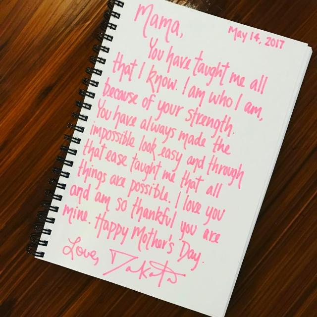 "<p>The actress wrote her mama, Heather Joy, a heartfelt note for Mother's Day. Think she actually mailed it to her? (Photo: <a href=""https://www.instagram.com/p/BUEwCndAUTP/"" rel=""nofollow noopener"" target=""_blank"" data-ylk=""slk:Dakota Fanning via Instagram"" class=""link rapid-noclick-resp"">Dakota Fanning via Instagram</a>) </p>"