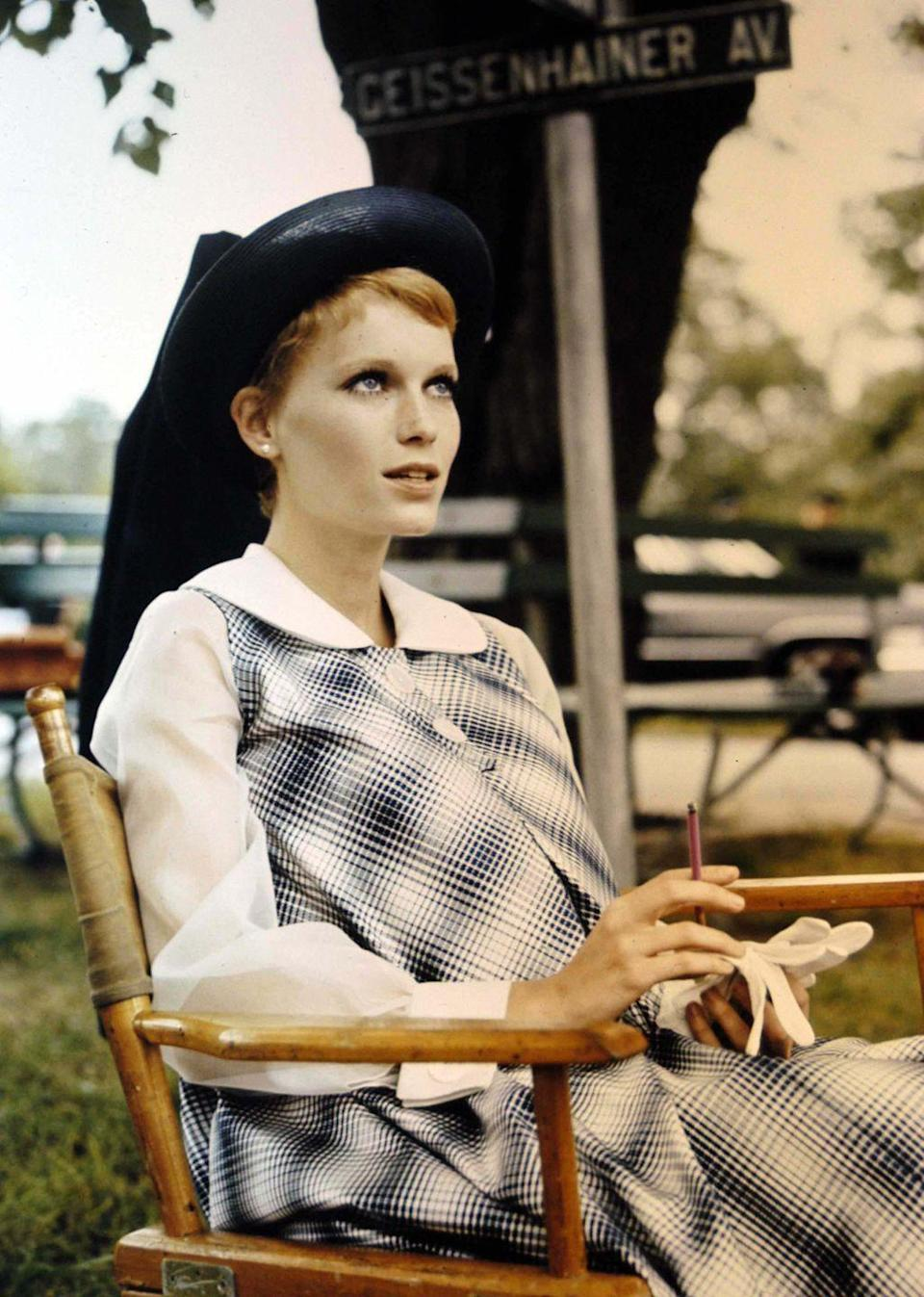 <p>Farrow in costume on the set of <em>Rosemary's Baby</em>. The film, directed by Roman Polanski, was shot on location in New York.  </p>