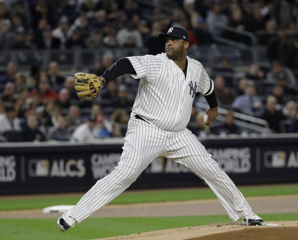 New York Yankees starting pitcher CC Sabathia throws during the first inning of Game 3 of baseball's American League Championship Series against the Houston Astros Monday, Oct. 16, 2017, in New York. (AP)