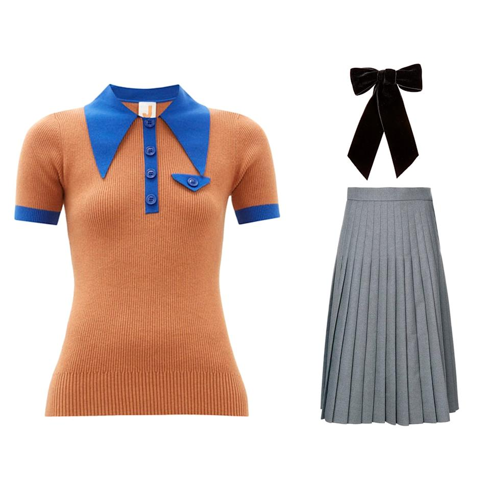 """<p>Thom Browne's pleated skirt plus Joostricot's 70s style polo equals one school uniform we would never complain about. Dress up the look with a velvet bow barrette from Jennifer Behr.</p> <p><strong>Buy now:</strong> Joostricot shirt, $497, <a href=""""https://www.matchesfashion.com/products/JoosTricot-Oversized-collar-cotton-blend-polo-shirt-1307677"""">matchesfashion.com</a>, Thom Browne skirt, $1,653, <a href=""""https://www.farfetch.com/shopping/women/thom-browne-school-uniform-pleated-skirt-item-12708295.aspx?storeid=10372"""">farfetch.com</a>, Jennifer Behr barrette, $152, <a href=""""https://www.jenniferbehr.com/the-bow-shop/wide-velvet-bow-barrette.html#"""">jenniferbehr.com</a>.</p>"""