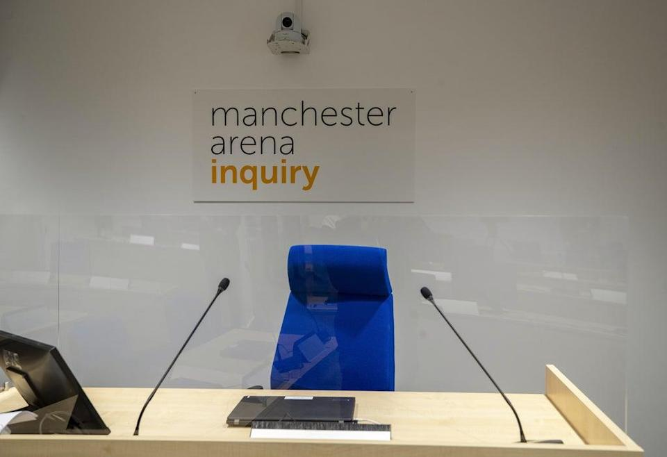 A general view inside the room where the Manchester Arena Inquiry is being held (Peter Byrne/PA) (PA Archive)
