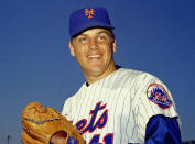 """Tom Terrific, the greatest pitcher from the Mets' greatest era, died following a series of health complications. He was 75. Known as """"The Franchise,"""" Seaver was a dominating right-hander and the owner of every meaningful pitching record in Mets franchise history. He won three Cy Young awards for the Amazins and led the 1969 """"Miracle Mets"""" to the team's first World Series title. Seaver also pitched for the Reds, Red Sox and White Sox in his career. A 12-time All-Star, he was a near-unanimous Hall of Fame selection and is one of just 10 pitchers with more than 300 wins and 3,000 strikeouts."""