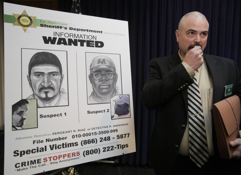 Los Angeles County Sheriff's Special Victims Bureau detective, Ron Anderson speaks during a news conference releasing information on multiple sexual assault suspects, Thursday Jan. 6, 2011 in Los Angeles. Detectives seek to identify at least four male suspects involved in the sexual assaults of at least ten severely disabled women. (AP Photo/Damian Dovarganes)