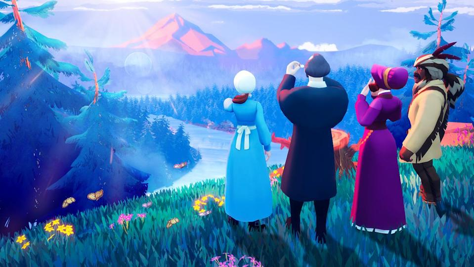 Four characters overlook a grand mountainous vista in the new Oregon Trail.