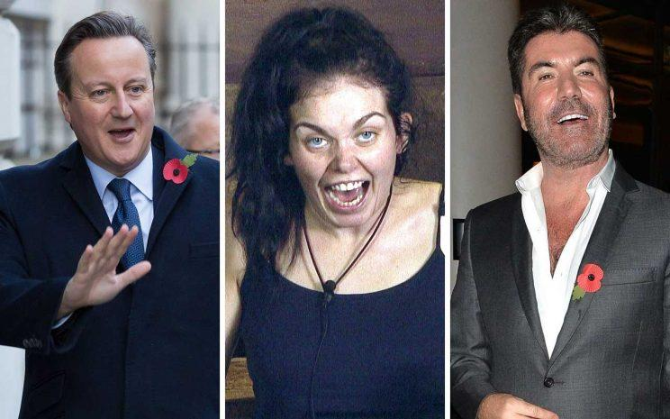 David Cameron, Scarlett Moffatt and Simon Cowell /Rex Photos