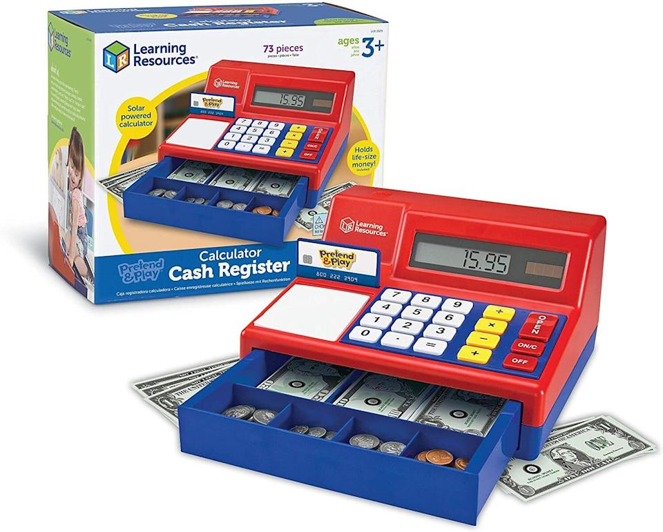 """Itmakes a """"cha-ching"""" noise every time it opens and will introduce concepts of math and finance to your kids -- as well as the outdated-in-their-lifetime concepts of cash and coins.<br /><br /><strong>Promising review:</strong>""""I bought this for my daughter when she was 2. Now 3, she still plays with it daily. She loves punching the numbers in, but her favorite part is the open button that ejects the spring-loaded drawer. She loves the paper money and the pretend credit card.<strong>I can see her and my son playing with this toy for at least ten more years. It is very durable. She has dropped it many times and it hasn't skipped a beat.</strong>The plastic is high-quality. I would definitely buy this product again."""" --<a href=""""https://www.amazon.com/dp/B00000DMD2?tag=huffpost-bfsyndication-20&ascsubtag=5709944%2C31%2C32%2Cd%2C0%2C0%2C0%2C962%3A1%3B901%3A2%3B900%3A2%3B974%3A3%3B975%3A2%3B982%3A2%2C13752221%2C0"""" target=""""_blank"""" rel=""""noopener noreferrer"""">Ecinoderm4u</a><br /><br /><strong>Get it from Amazon for <a href=""""https://www.amazon.com/dp/B00000DMD2?tag=huffpost-bfsyndication-20&ascsubtag=5709944%2C31%2C32%2Cd%2C0%2C0%2C0%2C962%3A1%3B901%3A2%3B900%3A2%3B974%3A3%3B975%3A2%3B982%3A2%2C13752221%2C0"""" target=""""_blank"""" rel=""""noopener noreferrer"""">$34.99</a>.</strong>"""