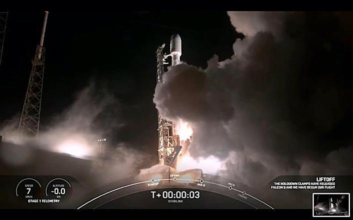 A SpaceX Falcon 9 rocket roars to life at the Cape Canaveral Space Force Station carrying 60 Starlink internet relay stations to orbit. An attempt to recover the first stage with landing on an off-shore droneship failed, ending a string of 24 successful recoveries over the past year. / Credit: SpaceX webcast