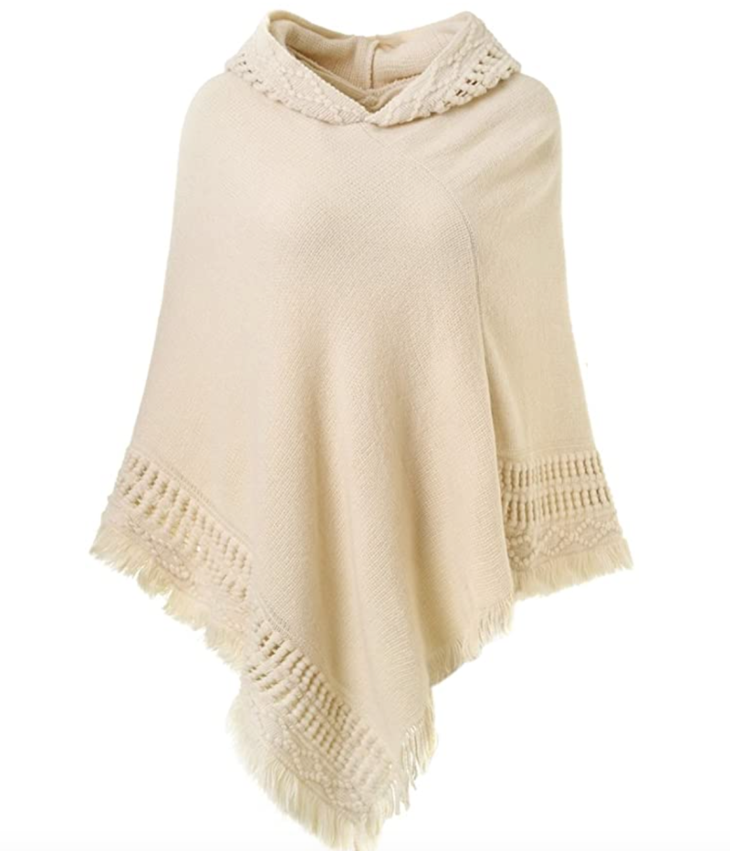 Ferand Hooded Crochet Poncho in Beige (Photo via Amazon)