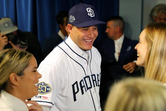 Manny Machado of the San Diego Padres is seen after his press conference on Friday at Peoria Sports Complex in Arizona. (Getty Images)