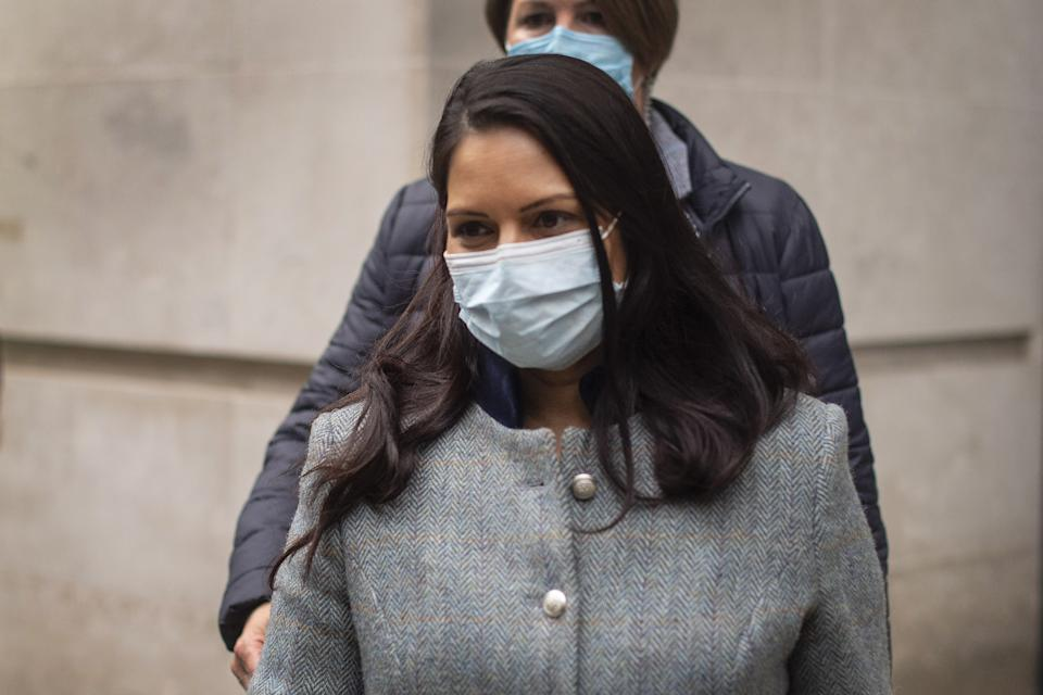 Home Secretary Priti Patel leaves BBC Broadcasting House in London after her appearance on the BBC One current affairs programme, The Andrew Marr Show. Picture date: Sunday May 23, 2021.