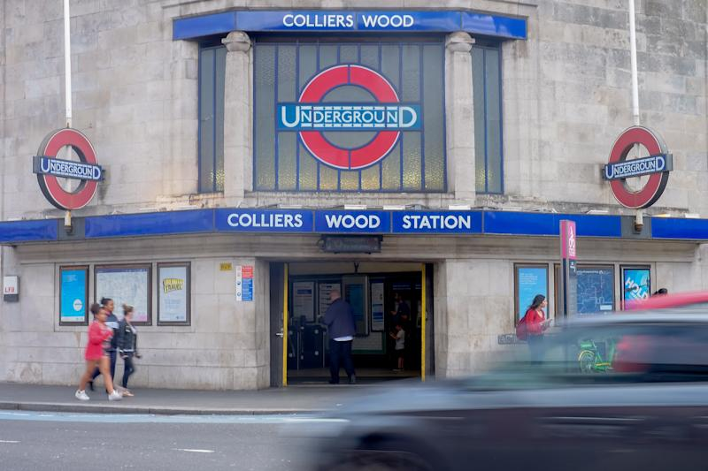 A general view of a sign for the London Underground/tube at Colliers Wood Station. Photo credit should read: Katie Collins/EMPICS