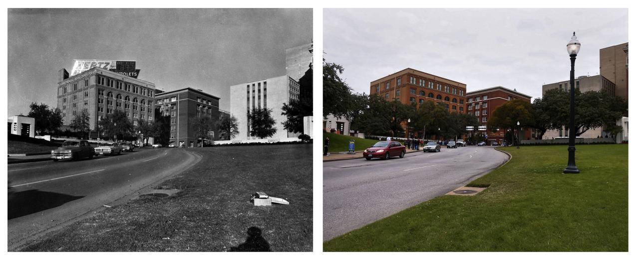Combination picture shows (L) cars traveling on the road past The Texas School Book Depository in Dallas, Texas in Dealey Plaza in November 22, 1963 and (R) the Sixth Floor Museum at Dealey Plaza (L), formerly known as the Texas School Book Depository, photographed from Elm and Commerce Streets in Dallas, Texas on November 10, 2013. The City of Dallas will hold commemoration ceremonies on November 22, 2013 marking the 50th anniversary of the assassination of President John F. Kennedy. REUTERS/Dallas Police Department/Dallas Municipal Archives/University of North Texas/Handout (L) and Adrees Latif (R) (UNITED STATES - Tags: POLITICS ANNIVERSARY CRIME LAW) ATTENTION EDITORS - THE IMAGE ON LEFT WAS PROVIDED BY A THIRD PARTY. FOR EDITORIAL USE ONLY. NOT FOR SALE FOR MARKETING OR ADVERTISING. MANDATORY CREDIT AS WRITTEN