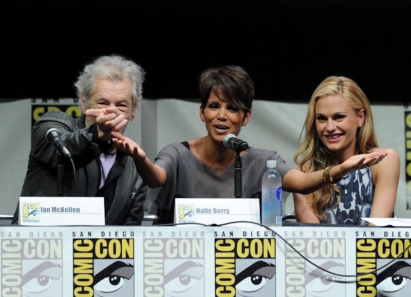 "SAN DIEGO, CA - JULY 20: (L-R) Actor Ian McKellen, actress Halle Berry and actress Anna Paquin speak at the 20th Century Fox ""X-Men: Days of Future Past"" panel during Comic-Con International 2013 at San Diego Convention Center on July 20, 2013 in San Diego, California. (Photo by Kevin Winter/Getty Images)"