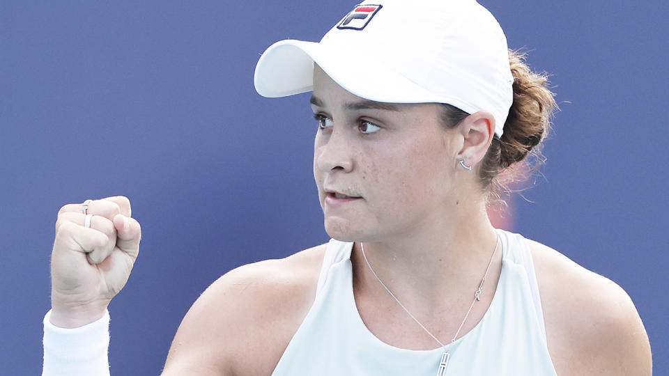 Ash Barty has hit back at critics who questioned her place at the top of the WTA rankings. (Photo by Michael Reaves/Getty Images)