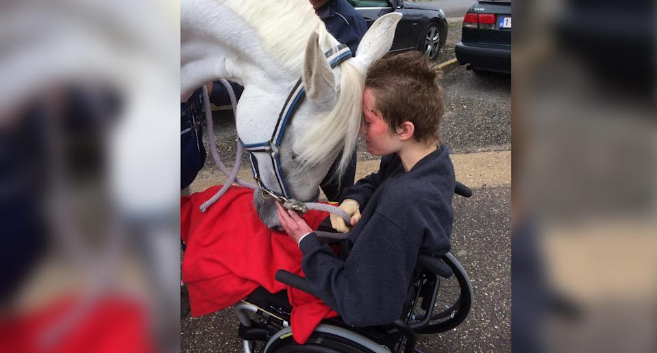 Béa de Lavalette is reunited with her horse DeeDee outside the hospital where Béa was recovering from injuries sustained in a terrorist attack. (Photo courtesy of Elizabeth de Lavalette)