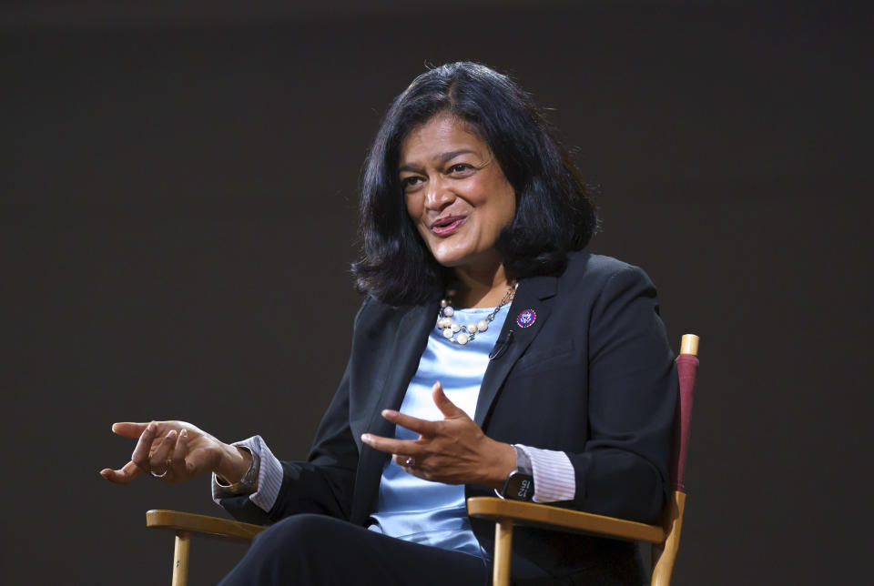"""In this Oct. 7, 2021, photo, Rep. Pramila Jayapal, D-Wash., chair of the nearly 100-member Congressional Progressive Caucus, talks to The Associated Press at the Capitol in Washington. In a letter on Oct. 13 to House Speaker Nancy Pelosi, President Joe Biden and Senate Majority Leader Chuck Schumer, the leaders of the Congressional Progressive Caucus argue the package should not simply be narrowed as centrist lawmakers prefer, but instead kept as Biden's bigger vision but for fewer than 10 years — """"shorter, transformative investments"""" that could be started quickly and then revisited. """"Much has been made in recent weeks about the compromises necessary to enact this transformative agenda,"""" wrote Jayapal, and other leaders of the 96-member progressive caucus in their letter, obtained by The Associated Press. (AP Photo/J. Scott Applewhite)"""