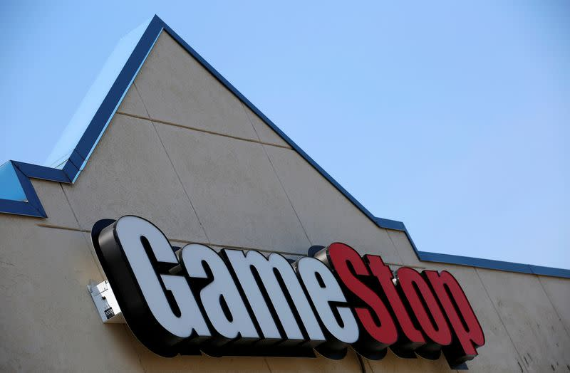FILE PHOTO: A sign is seen outside a GameStop store in Niles