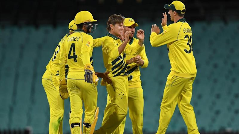 Australia has beaten New Zealand by 71 runs in their opening ODI at an empty SCG