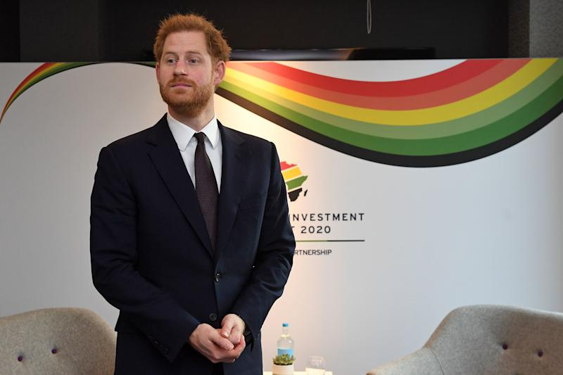 Britain's Prince Harry, Duke of Sussex reacts as he waits to meet a guest during the UK-Africa Investment Summit in London on January 20, 2020. (Photo by Stefan Rousseau / POOL / AFP) (Photo by STEFAN ROUSSEAU/POOL/AFP via Getty Images)