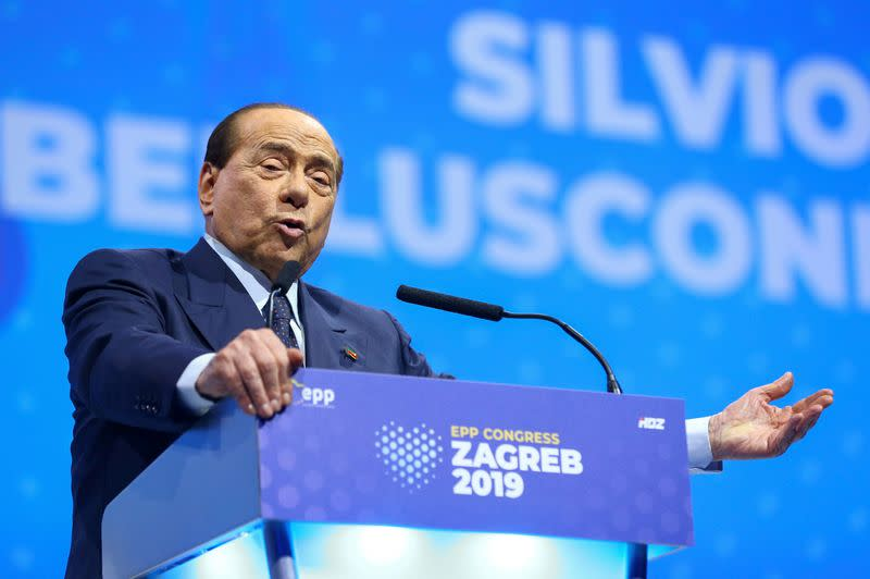 FILE PHOTO: Italian politician Silvio Berlusconi speaks during the EPP congress in Arena Zagreb hall in Zagreb