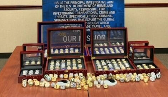 ICE seized hundreds of counterfeit rings last week. / Credit: Immigration and Customs Enforcement