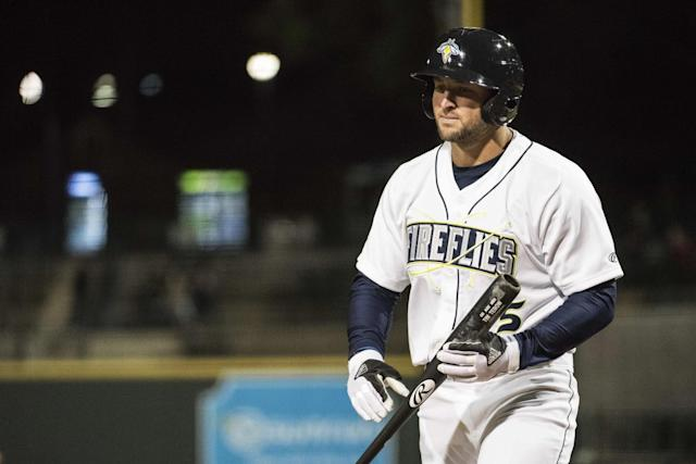 Despite the early power, Tim Tebow is hitting under .200 this season for the Columbia Fireflies. (AP Images)