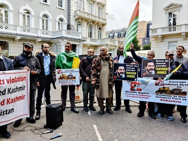 A protest demo in front of Pakistan High Commission London for the release of Tanveer Ahmed.