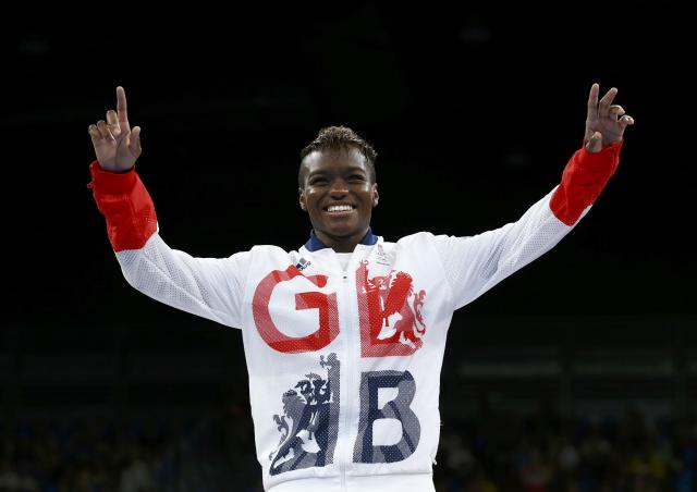 2016 Rio Olympics - Boxing - Victory Ceremony - Women's Fly (51kg) Victory Ceremony - Riocentro - Pavilion 6 - Rio de Janeiro, Brazil - 20/08/2016. Gold medallist Nicola Adams (GBR) of Britain reacts. REUTERS/Peter Cziborra FOR EDITORIAL USE ONLY. NOT FOR SALE FOR MARKETING OR ADVERTISING CAMPAIGNS.