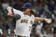 Milwaukee Brewers relief pitcher Josh Hader throws during the ninth inning of a baseball game against the Chicago Cubs Saturday, Sept. 18, 2021, in Milwaukee. (AP Photo/Morry Gash)