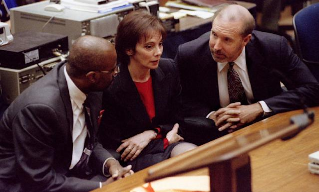 <p>Members of the prosecution team, Christopher Darden, Marcia Clark and William Hodgman react after defendant O.J. Simpson was found not guilty of the murders of Nicole Brown Simpson and Ronald Goldman. (Photo: Pool/Reuters) </p>