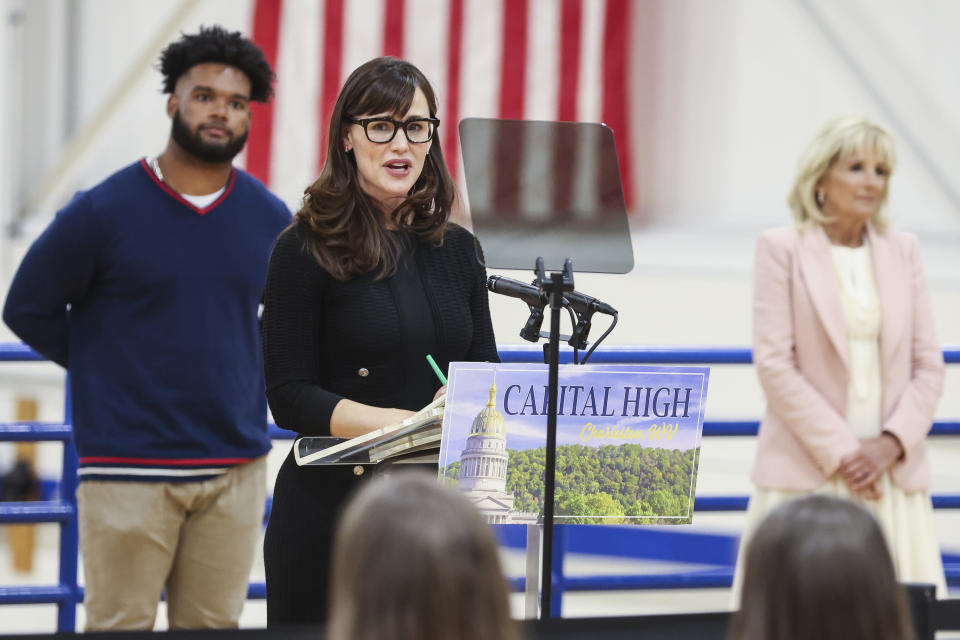 Actor Jennifer Garner speaks during a visit with first lady Jill Biden to a vaccination center at Capital High School in Charleston, W.Va., Thursday, May 13, 2021. (Oliver Contreras/The New York Times via AP, Pool)