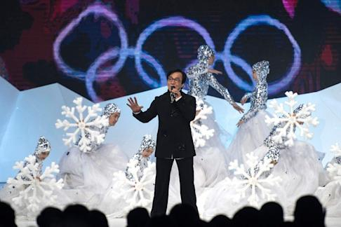 Hong Kong actor Jackie Chan sings during the official unveiling ceremony of the logo for the 2022 Winter Olympic and Paralympic Games in Beijing. Xi seeks Trump's support in holding back US calls for a television boycott of the Games. Photo: AFP