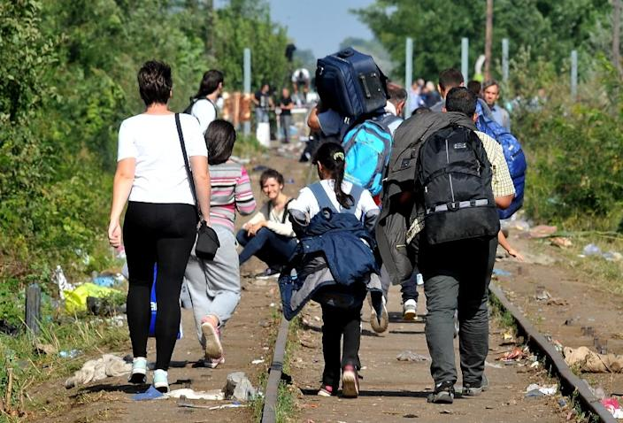 Refugees from Middle Eastern countries walk on railroad tracks as they approach the border with Hungary near northern Serbian town of Horgos on September 14, 2015 (AFP Photo/Elvis Barukcic)