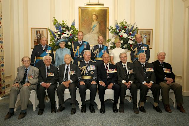 Mr Farnes (bottom row, third from right) poses in a group photo during a pre-lunch reception at the RAF Club to commemorate the 75th Anniversary Of The Battle Of Britain (Getty)
