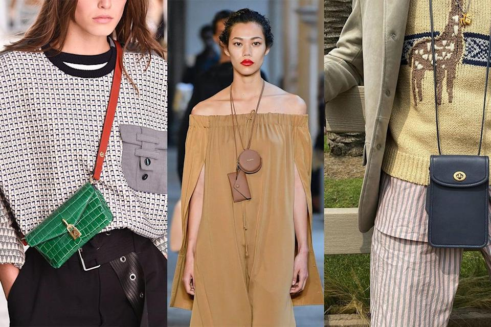 """<p>Inspired by Street Style, the cross-chest bag is moving a little further up the torso next Spring. <a href=""""https://www.popsugar.com/fashion/fashion-interviews-on-what-it-means-to-have-style-47826502"""" class=""""link rapid-noclick-resp"""" rel=""""nofollow noopener"""" target=""""_blank"""" data-ylk=""""slk:With minimalism a growing trend in fashion production"""">With minimalism a growing trend in fashion production</a>, a lot of designers are giving us a little help in pairing down to what we really need. What's in your mini bag?<br></p>"""
