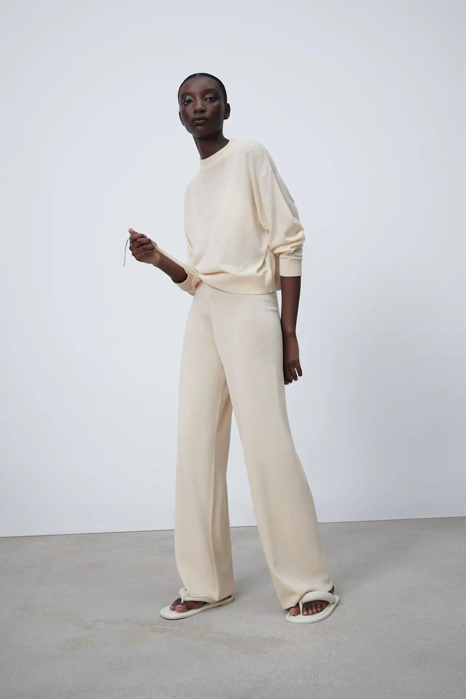 <p>You can wear these soft and stretchy <span>Zara Knit Pants</span> ($40) inside or outside of the house.</p>