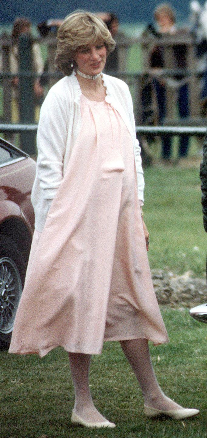 <p>Diana even managed to mix in the trend for more formal occasions by topping her dress off with a cardigan and pearl choker.</p>