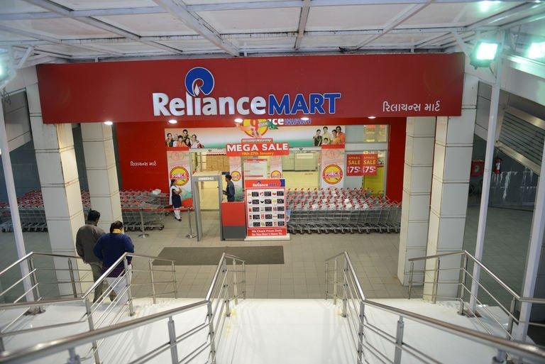 The entrance of the Reliance Mart on Gandhinagar-Sarkhej Highway road in Ahmedabad on January 18, 2013
