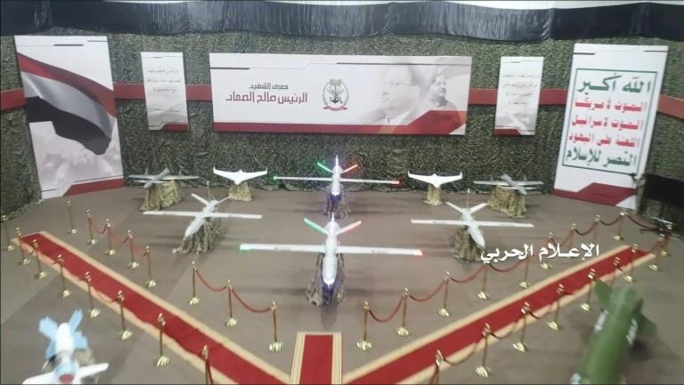 A video released by the Huthis in July 2019 shows a range of drones on display at an exhibition of rebel firepower