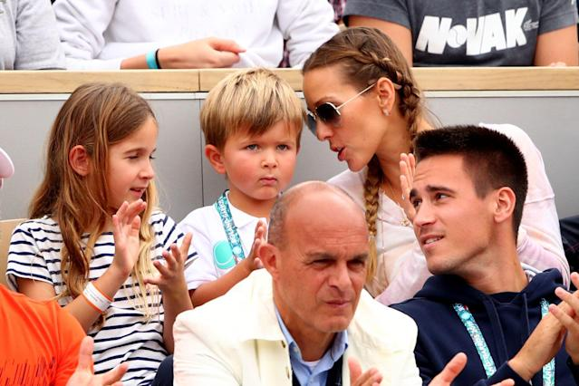 "<a class=""link rapid-noclick-resp"" href=""/olympics/rio-2016/a/1156004/"" data-ylk=""slk:Novak Djokovic"">Novak Djokovic</a>'s wife, Jelena Djokovic, and son, Stefan Djokovic, watched his second-round match at the French Open. (Photo by Clive Brunskill/Getty Images)"