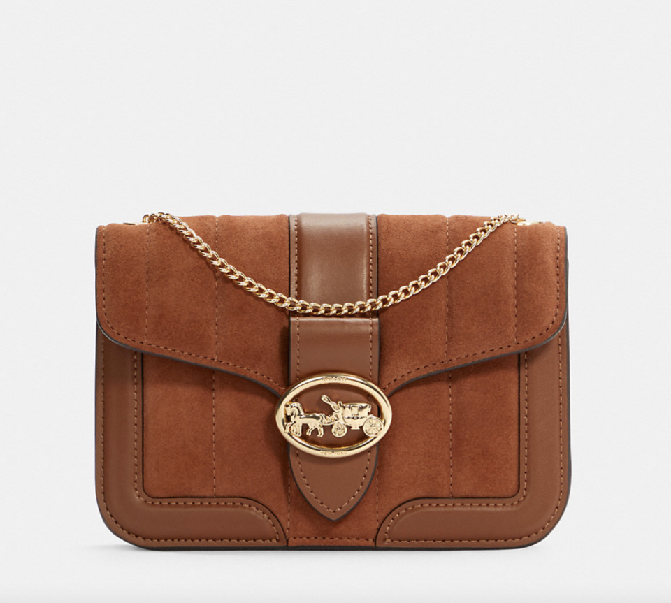brown leather and suede Georgie Crossbody With Linear Quilting (Photo via Coach Outlet)