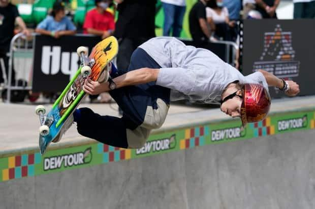 B.C.'s Andy Anderson competes in last month's Olympic qualifying skateboard event in Des Moines, Iowa. (Associated Press - image credit)