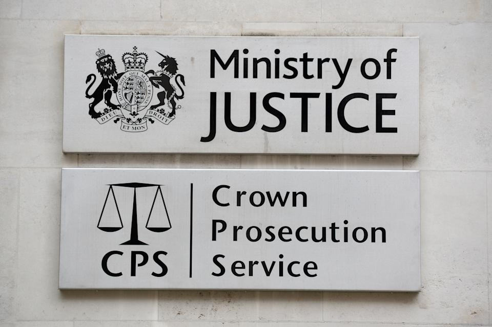 A view of signage for the Ministry of Justice and the Crown Prosecution Service in Westminster, London.