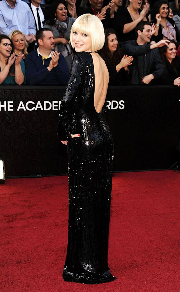 Anna Faris arrives at the 84th Annual Academy Awards in Hollywood, CA.