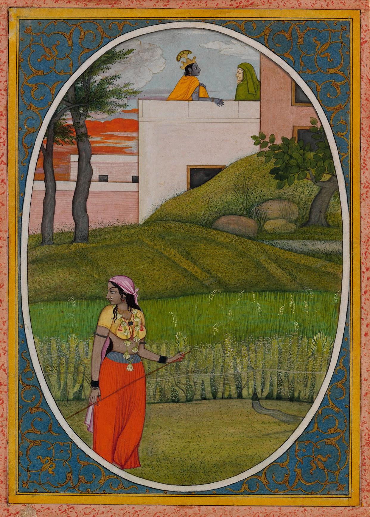 """""""The Village Beauty.""""Probably painted by the artist Fattu (active ca. 1770–1820)Illustrated folio from the dispersed """"Kangra Bihari"""" SatSai (Seven Hundred Verses)Punjab Hills, kingdom of Kangra, ca. 1785.Opaque watercolor, ink, and gold on paper; narrowyellow and white borders with black inner rules; darkblue spandrels decorated with gold arabesque;painting 7 3/8 x 5 3/16 in.Promised Gift of the Kronos Collections, 2015."""