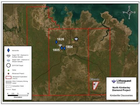 Lithoquest Discovers Two New Kimberlites on the North Kimberley Diamond Project