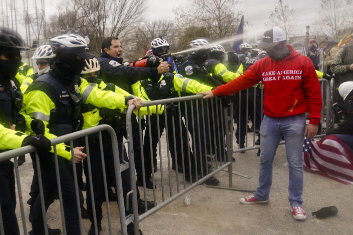 Demonstators loyal to President Donald Trump, are sprayed by police, Wednesday, Jan. 6, 2021, during a day of rioting at the Capitol. It's been a stunning day as a number of lawmakers and then the mob of protesters tried to overturn America's presidential election, undercut the nation's democracy and keep Democrat Joe Biden from replacing Trump in the White House. (AP Photo/John Minchillo)
