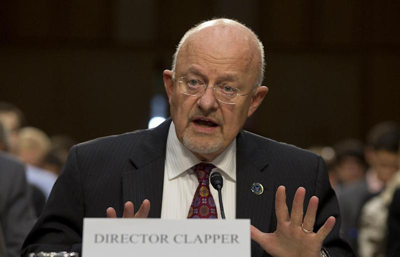 Director of National Intelligence James Clapper testifies on Capitol Hill in Washington, Thursday, Sept. 26, 2013, before the Senate Intelligence Committee hearing on the Foreign Intelligence Surveillance Act (FISA), and National Security Agency (NSA) call records. Clapper told lawmakers he's willing to consider limits on surveillance by the National Security Agency. (AP Photo/Carolyn Kaster)